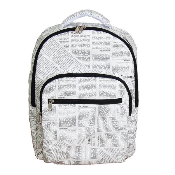 rucksack backpack newspaper print design tyvek