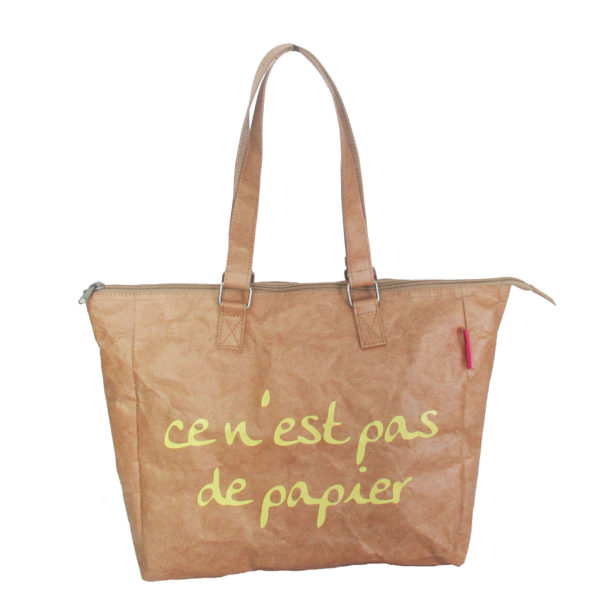 tyvek lightweight tote bag french logo brown paper