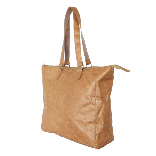 brown tyvek buckle handle bag