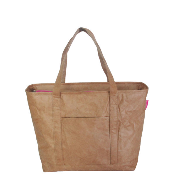tyvek lightweight tote bag brown pink zip