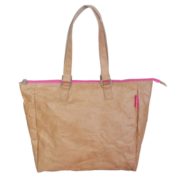 brown tyvek tote bag with pink zip buckle fittings