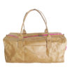 lightweight brown tyvek travel bag with pink zip
