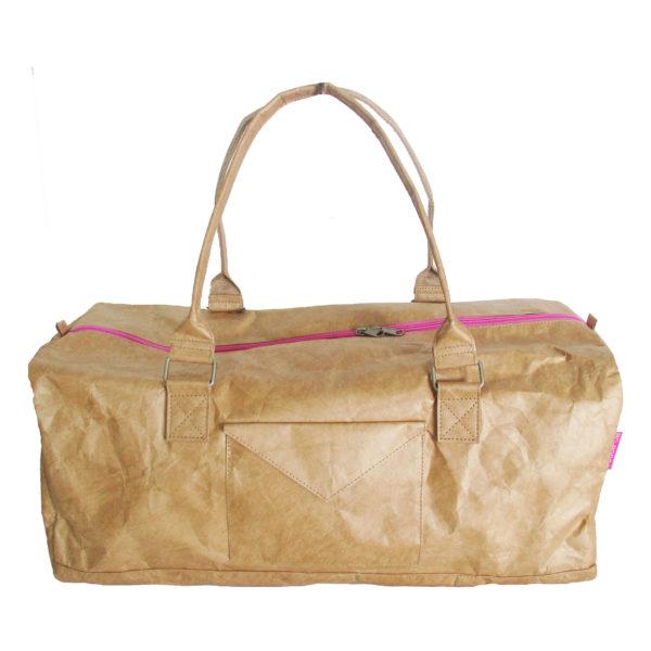 lightweight brown tyvek travel bag with pink zip