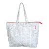 tyvek tote bag with newspaper print design and black zip
