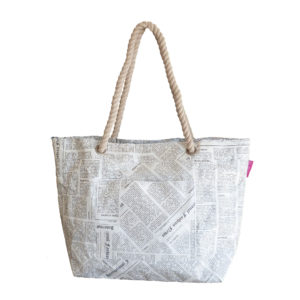Rope Handle Bag Newspaper Print