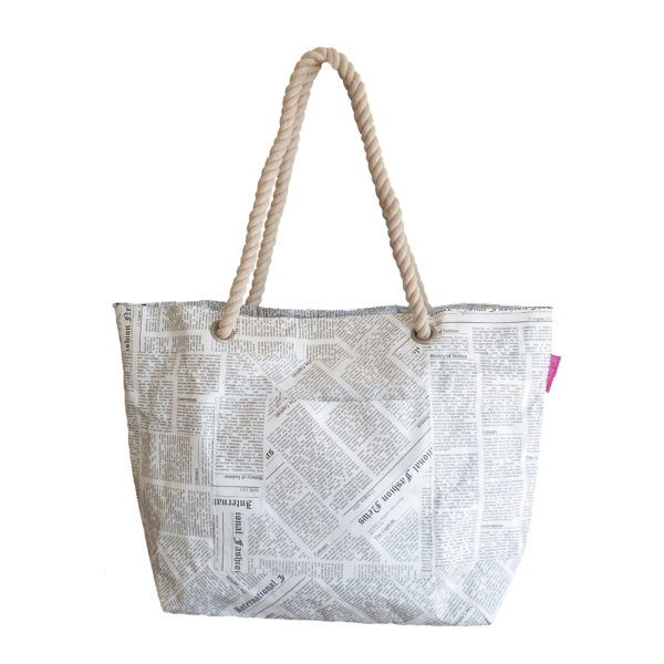 Tyvek shoulder tote bag with rope handle newspaper print design