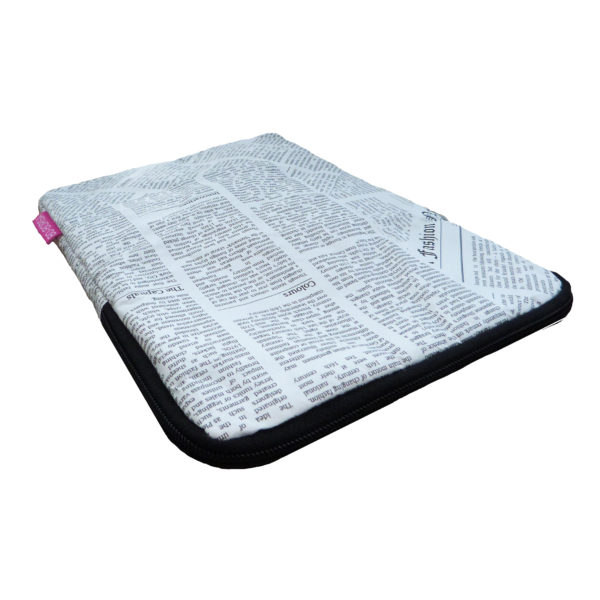 tyvek ipad case newspaper print design black zip