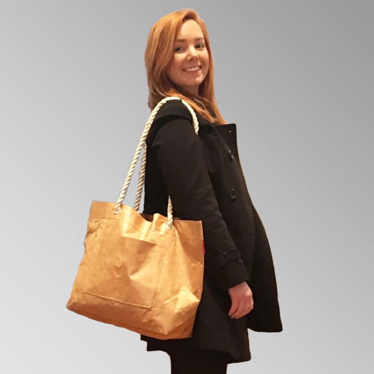 Tyvek original brown tote bag rope handle