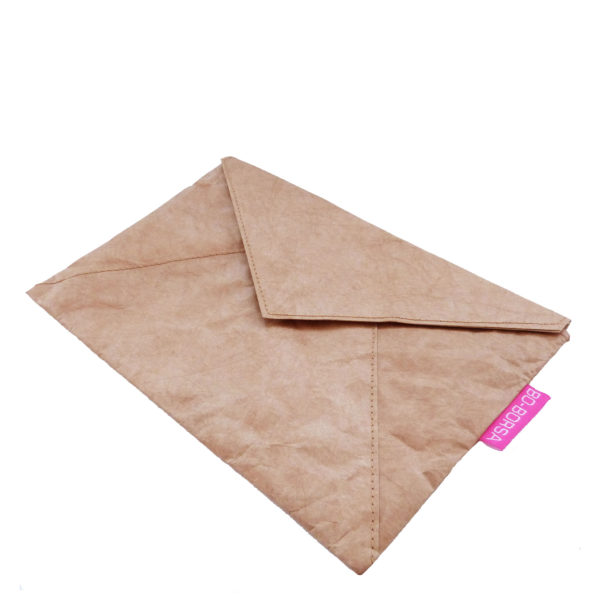 Brown Tyvek clutch bag or make-up bag with lining