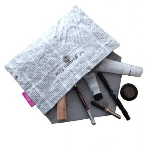 Newspaper Print Tyvek Clutch Bag