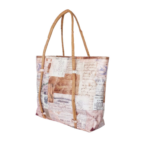 cord handle tote bag tyvek french receipts design