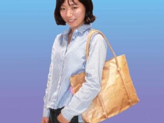 Tyvek cord handle brown tote bag