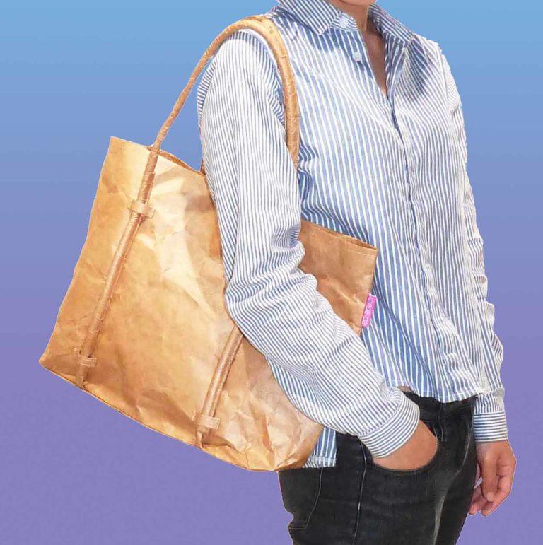 Tyvek brown cord handle tote bag