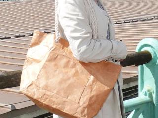 rope handle Tyvek tote bag brown