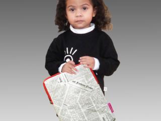 iPad cover sleeve Tyvek newspaper print red zip