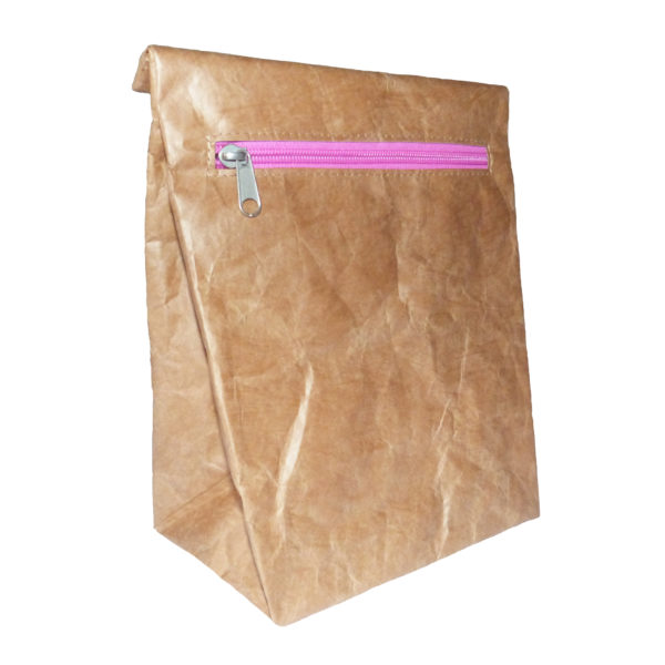 brown tyvek lunch sandwich bag pink zip