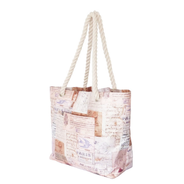 rope handle tyvek bag with french receipts design