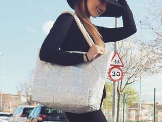 Tyvek newspaper print tote bag rope handle