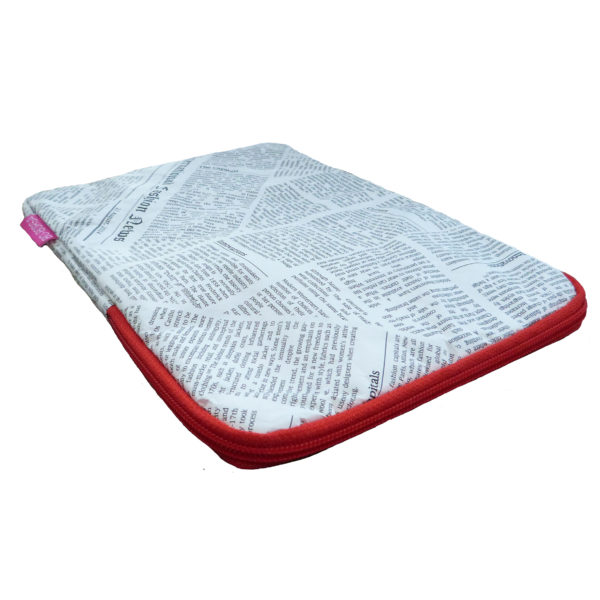 tyvek ipad cover with newspaper print design and red zip
