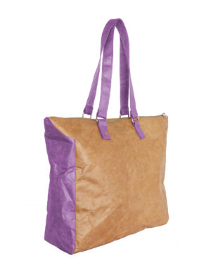 Original Tyvek Mauve Buckle Handle Brown Bag