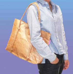 Brown Paper Tyvek Cord Handle Bag