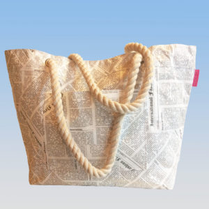 Newspaper P0rint Tyvek Rope Handle Bag